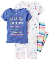 Carter's Baby Girl Splatter & Striped Tee, Shorts & Pants Pajama Set