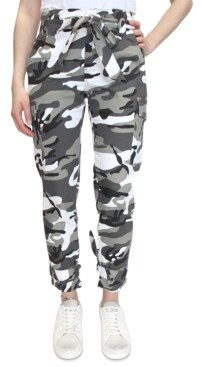 Thumbnail for your product : Almost Famous Crave Fame Camo-Print Belted Tie-Cuff Cargo Jogger Pants