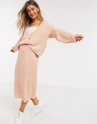 In The Style x Lorna Luxe copenhagen knitted double breasted knitted cardigan in blush