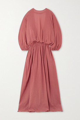 ALBUS LUMEN Licentia Open-back Draped Cotton-crepon Maxi Dress - Pink