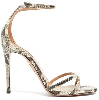 Aquazzura Purist 105 Python-effect Leather Sandals - Python