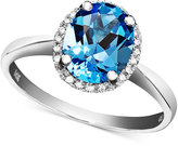 14k White Gold Ring, Blue Topaz (2 ct. t.w.) and Diamond Accent Oval