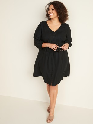 Old Navy Plus-Size Pintuck Button-Front Swing Dress