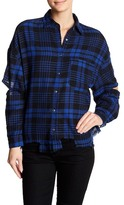Lush Elbow Cutout Plaid Flannel Shirt