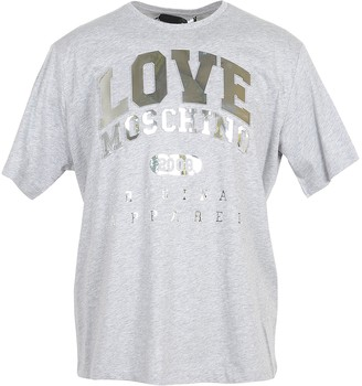 Love Moschino Melange Gray & Gold Signature Cotton Women's T-Shirt