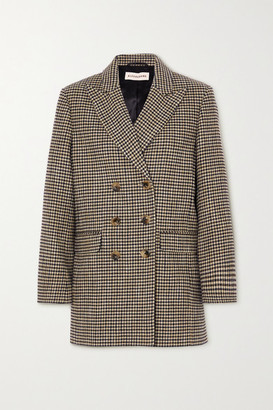 ALEXACHUNG Jerry Double-breasted Houndstooth Cotton-blend Blazer - Camel