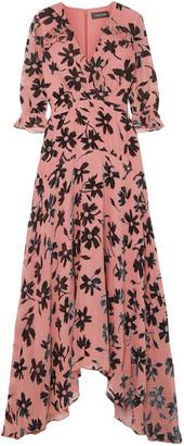 Saloni Edith Ruffled Flocked Chiffon Maxi Dress