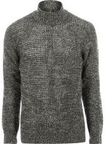 River Island MensGreen Only & Sons twist knit roll neck sweater