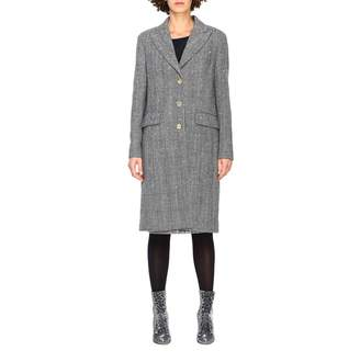 Ermanno Scervino Coat Coat In Prince Of Wales Fabric With Applications