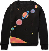 The Elder Statesman Solar System-intarsia Cashmere Sweater - Black