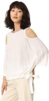 Tibi Cutout Sleeve Silk Blouse