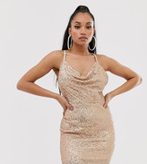 TFNC Petite Petite cowl neck cross back sequin mini dress in rose gold