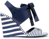 Tory Burch Maritime Lace-up Striped Leather Wedge Sandals - Navy