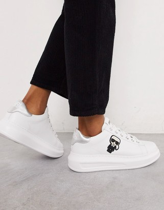 Karl Lagerfeld Paris white leather platform sole trainers with silver trim