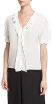Alexander McQueen Ruffled Silk Short-Sleeve Blouse