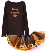 Beary Basics Black 'Halloween' Tee & Orange Tutu - Infant Toddler & Girls