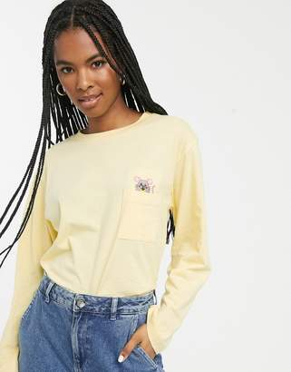Monki mouse pocket long sleeve tee in yellow