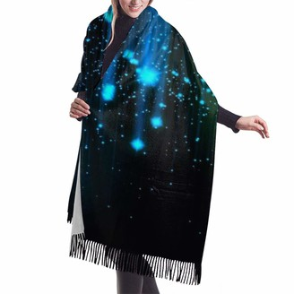 Medlin Black and Blue Neon Lights Women's Warm Shawl Wrap Cape Shawls Winter Cardigan Wrap Ponchos for Women