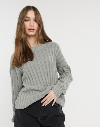 Hollister oversized rib crew neck knitted jumper in grey