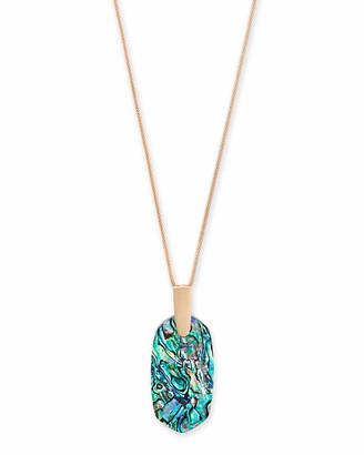 Kendra Scott Inez Rose Gold Long Pendant Necklace in Abalone Shell