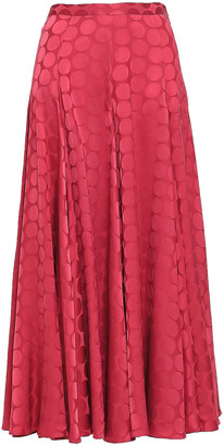 Co Pleated Satin-jacquard Midi Skirt