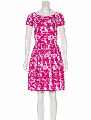 Oscar de la Renta Printed Mini Dress Pink