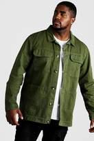 BoohoomanBoohooMAN Mens Green Big & Tall Cotton Twill Utility Overshirt, Green