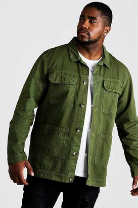 Big & Tall Cotton Twill Utility Overshirt