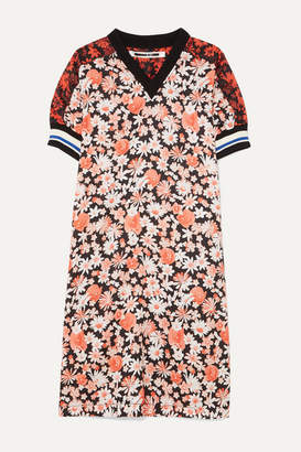 McQ Paneled Floral-print Crepe And Checked Flannel Midi Dress - Orange