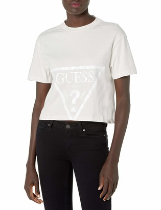 GUESS Women's Active Short Sleeve Oversized Logo Cropped T-Shirt