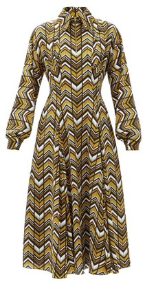 Emilia Wickstead Dannie Zigzag-print Crepe Shirt Dress - Brown Multi