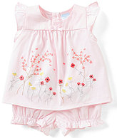 Edgehill Collection Baby Girls Newborn-6 Months Short-Sleeve Bow Top & Bloomers Set
