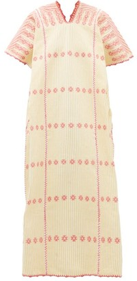 Pippa No.166 Striped Embroidered Cotton Kaftan - Yellow White
