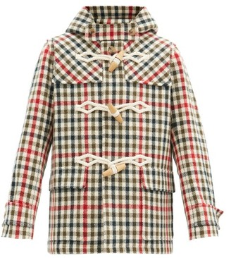 J.W.Anderson Checked Rope-toggle Wool-blend Duffel Coat - Green