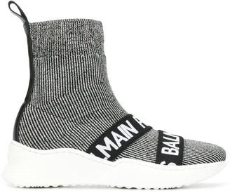 Balmain Kids logo knitted slip-on sneakers