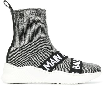 Balmain Kids Logo Knitted Slip-On Sneakers