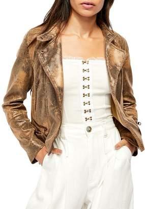 Free People Fenix Snake Print Faux Leather Jacket