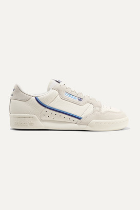 adidas Continental 80 Grosgrain-trimmed Suede And Textured-leather Sneakers - Off-white