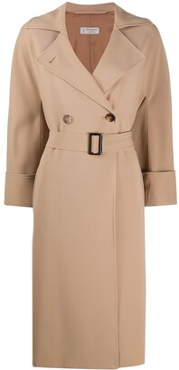 Alberto Biani Double-Breasted Belted Coat