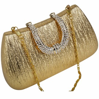 Claudia Canova Womens Rounded Hard Case Diamante Clasp Fasten Clutch Gold (Gold)