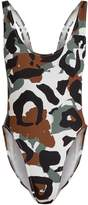 Norma Kamali Camo-print high-rise swimsuit