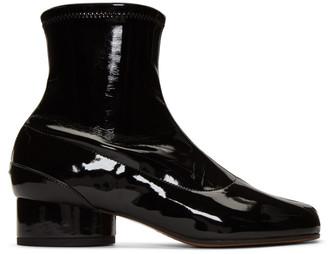 Maison Margiela Black Patent Tabi Ankle Boots