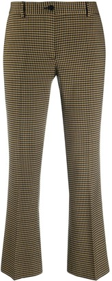 Alberto Biani Cropped Gingham Kickflare Trousers