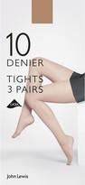 John Lewis & Partners 10 Denier Tights, Pack of 3