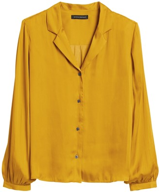 Banana Republic Soft Satin Camp-Collar Blouse
