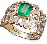 Effy Brasilica by Emerald (1-3/8 ct. t.w.) and Diamond (1/3 ct. t.w.) Statement Ring in 14k Gold