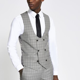 River Island Mens Brown heritage check slim suit waistcoat