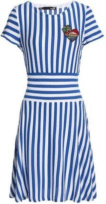 Love Moschino Appliqued Striped Stretch-jersey Mini Dress
