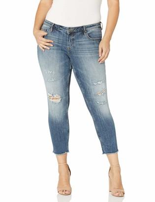 Vigoss Women's Plus Size Chelsea Skinny Jean Medium Destruction 14