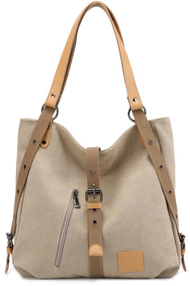 Ella & Elly Women's Totebags Ivory - Ivory Buckle-Front Tote